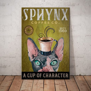 Sphynx Cat Coffee Company Canvas- A cup of character2 - Anniversary Birthday Christmas Housewarming Gift Home
