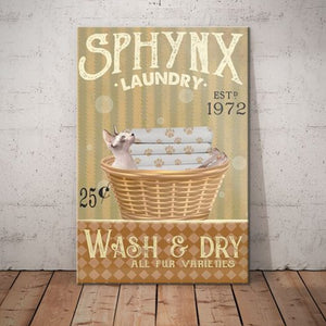 Sphynx Cat Laundry Company Canvas -Wash And Dry - Anniversary Birthday Christmas Housewarming Gift Home