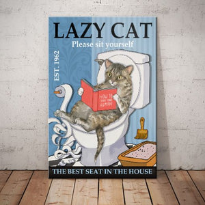 Tabby Cat Bathroom Canvas -The Best Seat In The House - Anniversary Birthday Christmas Housewarming Gift Home