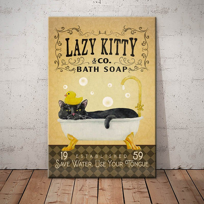 Lazy Kitty - Black Cat Bath Soap Company Canvas