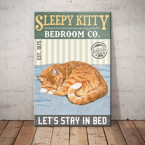 Tabby Cat Bedroom Company Canvas -Let's stay in bed - Anniversary Birthday Christmas Housewarming Gift Home