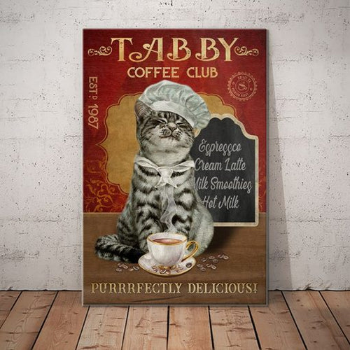 Tabby Cat Coffee Company Canvas - Purrrfectly Delicious- Anniversary Birthday Christmas Housewarming Gift Home