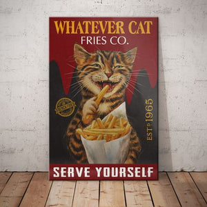 Tabby Cat Fries Company Canvas -Serve Yourself - Anniversary Birthday Christmas Housewarming Gift Home