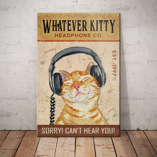 Tabby Cat Headphone Company Canvas - Sorry Can't Hear You - Anniversary Birthday Christmas Housewarming Gift Home