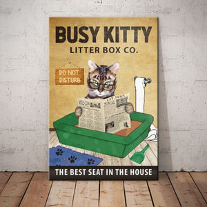 Tabby Cat Litter Box Company Canvas - The best seat in the house - Anniversary Birthday Christmas Housewarming Gift Home