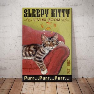 Tabby Cat Living Room Canvas - Purr Purr Purr - Anniversary Birthday Christmas Housewarming Gift Home