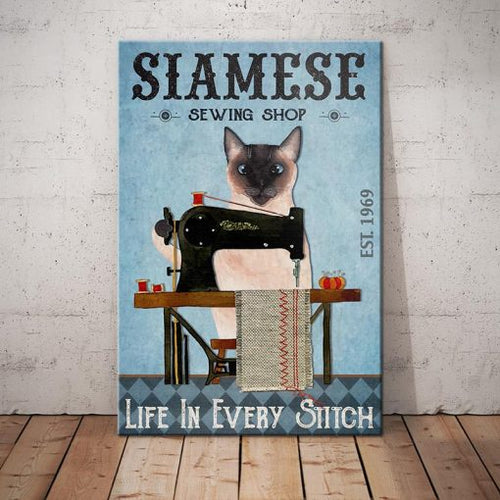 Siamese Cat Sewing Shop Canvas - Life in every stitch -  Anniversary Birthday Christmas Housewarming Gift Home