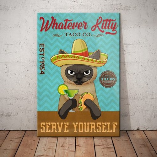 Siamese Cat Taco Company Canvas - Serve yourself -  Anniversary Birthday Christmas Housewarming Gift Home