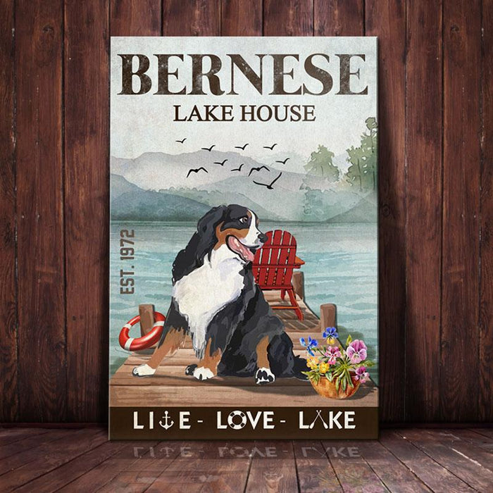 Bernese Mountain Dog Lake House Canvas