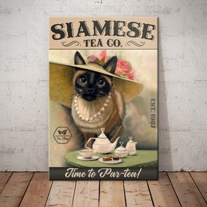 Siamese Cat Tea Company Canvas - Time to Par-tea -  Anniversary Birthday Christmas Housewarming Gift Home