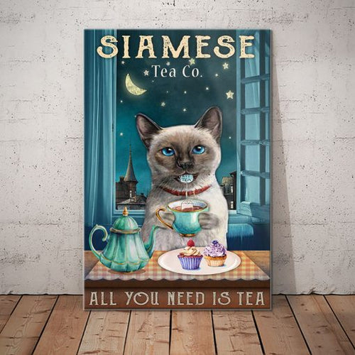 Siamese Cat Tea Company Canvas  - All you need is tea -  Anniversary Birthday Christmas Housewarming Gift Home