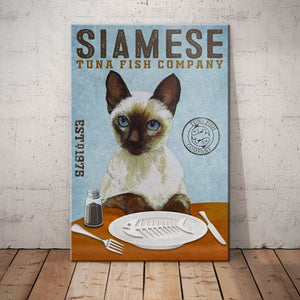 Siamese Cat Tuna Fish Company Canvas MR11 -  Anniversary Birthday Christmas Housewarming Gift Home