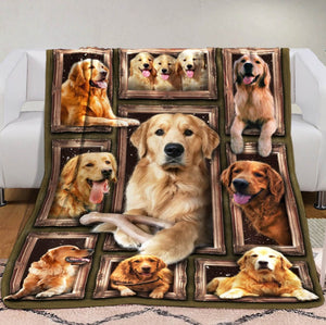 3D Golden Retriever Dog Fleece Blanket