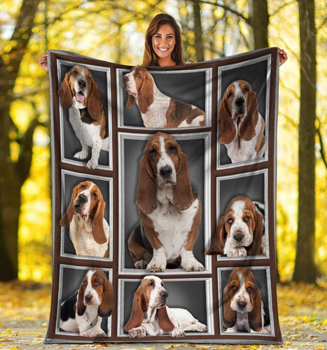 Dog Blanket 3D Basset Hound Dog Lovers Gifts Fleece Blanket