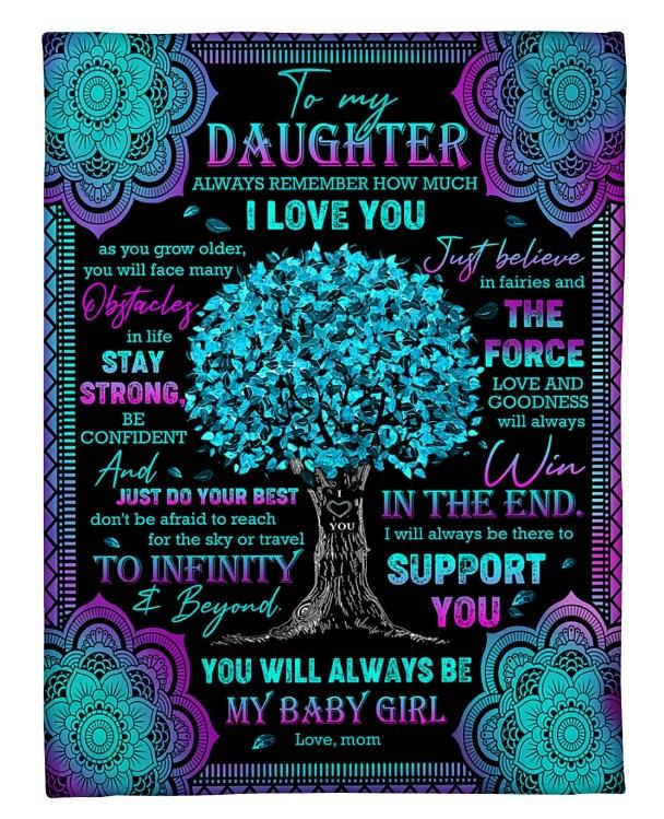 Fleece Blanket -  To my daughter Always remember how much I love you Just believe in fairies and the force