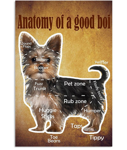 Yorkshire Terrier anotomy of a good boi Vertical canvas