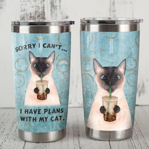 Siamese Cat Steel Tumbler Cup - I have plans with my cat