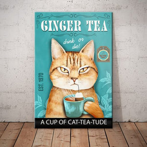 Tabby Cat Tea Company Canva - A cup of cat-tea-tude - Anniversary Birthday Christmas Housewarming Gift Home
