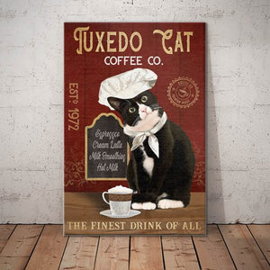 Tuxedo Cat Coffee Company Canvas  - The finest drink of all - Anniversary Birthday Christmas Housewarming Gift Home