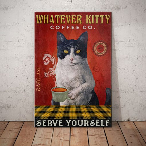 Tuxedo Cat Coffee Company Canvas FPR0703 - Serve yourself - Anniversary Birthday Christmas Housewarming Gift Home