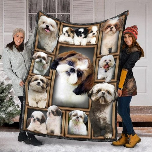 SHIH TZU DOG FLEECE BLANKETS, ANIMAL BLANKETS, BLANKET GIFT, CUTE BLANKETS, GIRL DOG BLANKETS