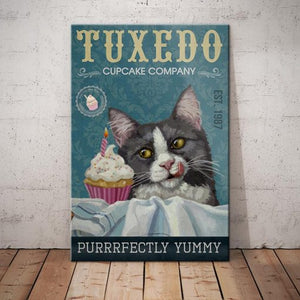 Tuxedo Cat Cupcake Company Canvas - Purrrfectly Yummy - Anniversary Birthday Christmas Housewarming Gift Home