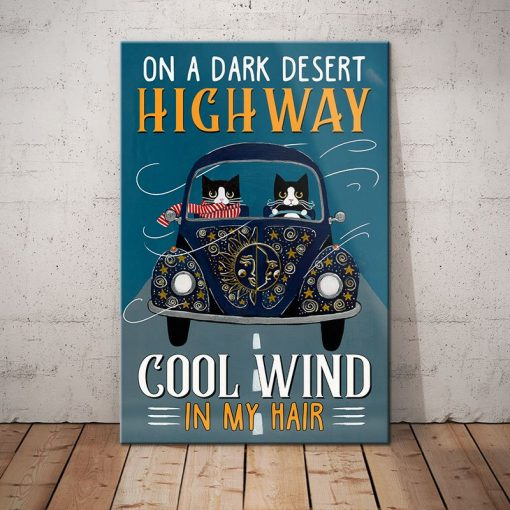 Tuxedo Cat Highway Canvas - Cool Wind In My Hair -  Anniversary Birthday Christmas Housewarming Gift Home