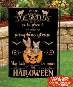 MAY LUCK BE YOURS ON HALLOWEEN - PERSONALIZED CUSTOM GARDEN FLAG - GARDEN HOUSE FLAG HOUSE