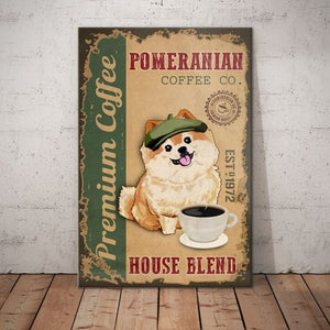 Pomeranian Dog Coffee Company Canvas - House Blend - Anniversary Birthday Christmas Housewarming Gift Home