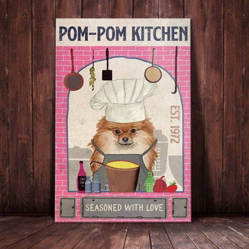 Pomeranian Dog Kitchen Canvas  - Seasoned with love - Anniversary Birthday Christmas Housewarming Gift Home