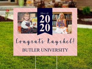 Girl Graduation Yard Sign - Now and Then - Baby Photo - Class of 2020 - Outdoor Sign - Senior Yard Sign - Printed and Shipped to You