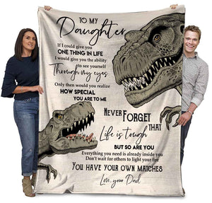 Dinosaurs Dad To My Daughter If I Could Give You One Things In Life Ultra Soft Cozy Plush Fleece Blanket