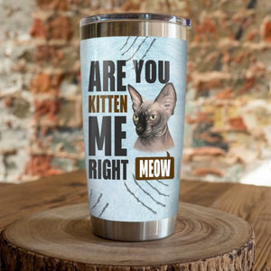 Sphynx Cat Steel Tumbler Cup - Are you  kitten me right meow