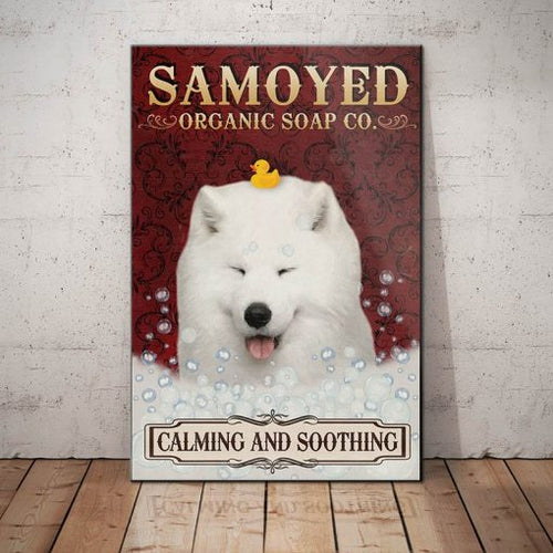 Samoyed Dog Organic Soap Company Canvas - Calming and soothing - Anniversary Birthday Christmas Housewarming Gift Home