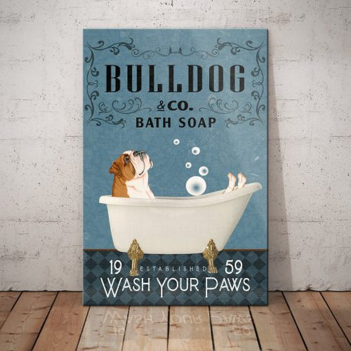 Bulldog Bath Soap Company Canvas - Wash your paws - Anniversary Birthday Christmas Housewarming Gift Home