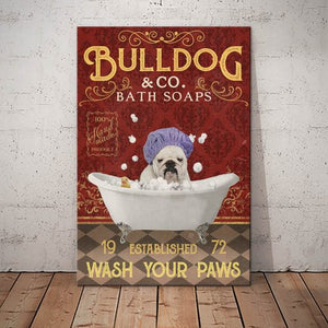 Bulldog Bath Soap Company Canvas PG2012 - Wash your paws - Anniversary Birthday Christmas Housewarming Gift Home