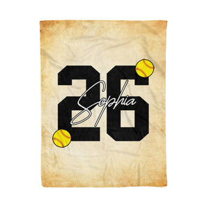 Custom Retro Softball Fleece Blanket