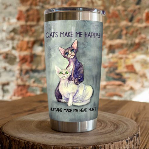 Sphynx Cat Steel Tumbler Cup - Cats make me happy