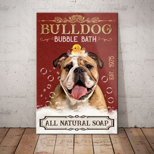 Bulldog Bubble Bath Company Canvas - Anniversary Birthday Christmas Housewarming Gift Home