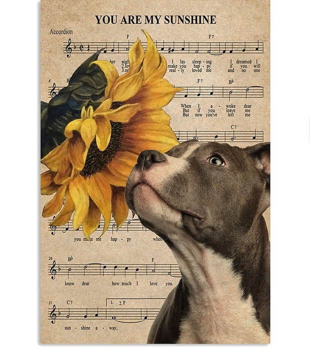 Pitbull Sunshine Poster Vertical Canvas Prints