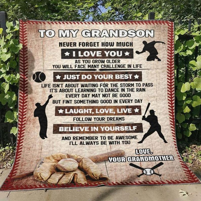 For Your Baseball Lover Grandson Blanket Gift - Birthday- Grandparents - Son - Personalized - Sport