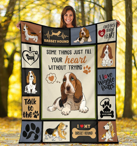 Dog Blanket Some Things Just Fill Your Heart Without Trying Basset Hound Dog Fleece Blanket