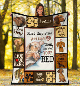 Dog Blanket First They Steal Your Heart Dachshund Doxie Wiener Dog Fleece Blanket