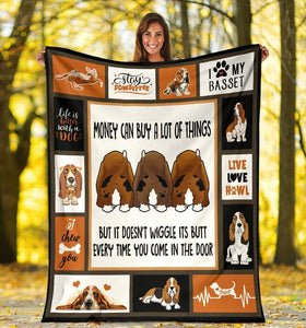 Dog Blanket Money Can Buy A Lot Of Things Basset Hound Dog Fleece Blanket