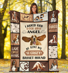 Dog Blanket I Asked God For An Angel Basset Hound Dog Fleece Blanket