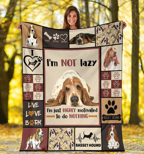 Dog Blanket I'm Not Lazy I'm Just Highly Motivated Funny Basset Hound Dog Fleece Blanket
