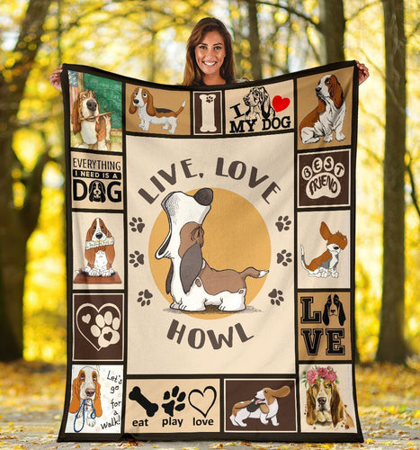 Dog Blanket Live Love Howl Funny Basset Hound Dog Fleece Blanket