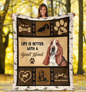 Dog Blanket Life Is Better With A Basset Hound Dog Lover Gift Fleece Blanket