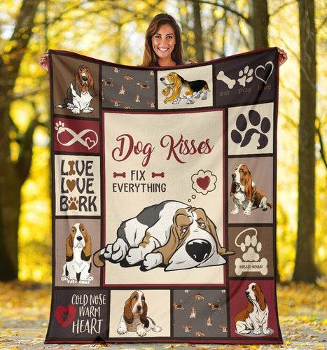 Dog Blanket Dog Kisses Fix Everything Basset Hound Dog Fleece Blanket