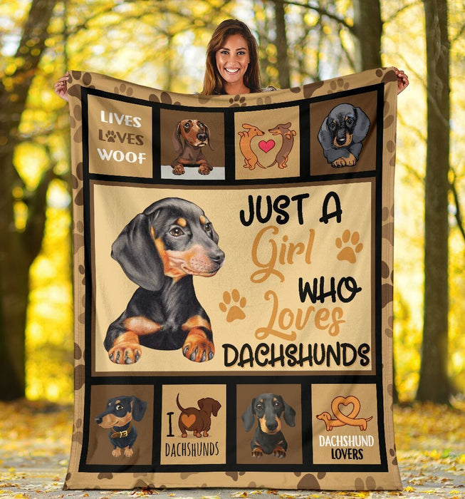 Just A Girl Who Loves Dachshunds Fleece Blanket